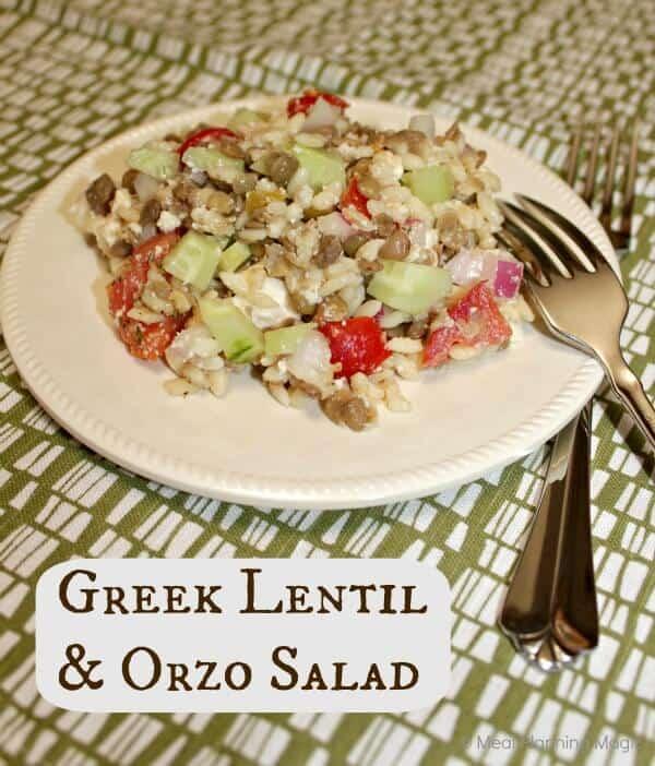 Greek Lentil Orzo Salad | #EatingA2ZChallenge | Meal Planning Magic