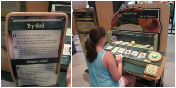 This exhibit challenged you to match up foods with suggested serving sizes. It was harder than it seemed!