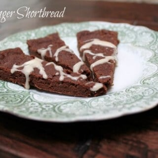 Fudgy ginger shortbread are delicious chocolate shortbread cookies with a hint of ginger flavor, perfect for any holiday cookie platter!   12 Weeks of Christmas Treats Blog Hop hosted by Meal Planning Magic