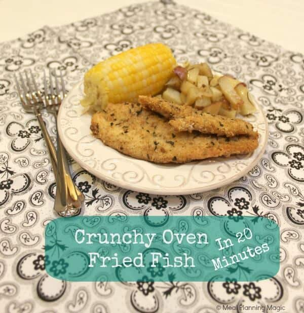Quick & Easy Crunchy oven fried fish is easy to make and so delicious! This healthy fried fish recipe uses the oven to create a crispy coating on the fish. Plus make ahead tips.