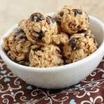 These make-ahead no-bake Cinnamon Raisin Peanut Butter Energy Bites taste just like a cookie! They are perfect for snacks or lunchboxes and taste great when they're cold!