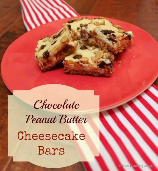 Chocolate peanut butter cheesecake bars are quick and easy bar desserts. Creamy baked cheesecake bars with lots of chocolate chips and peanut butter chips.    12 Weeks Christmas Treats   MealPlanningMagic.com