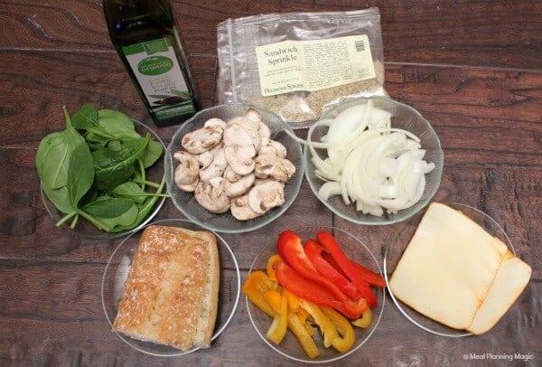 Spinach and Sautéed Vegetables Panini | #EatingAtoZChallenge | Easy Vegetarian recipe from MealPlanningMagic.com