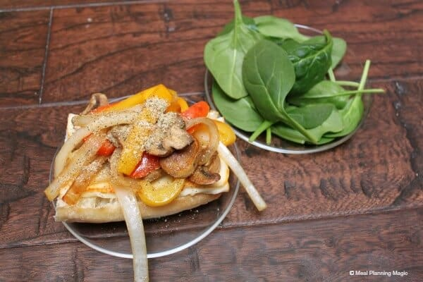Spinach and Sautéed Vegetables Panini | Easy Vegetarian recipe from MealPlanningMagic.com