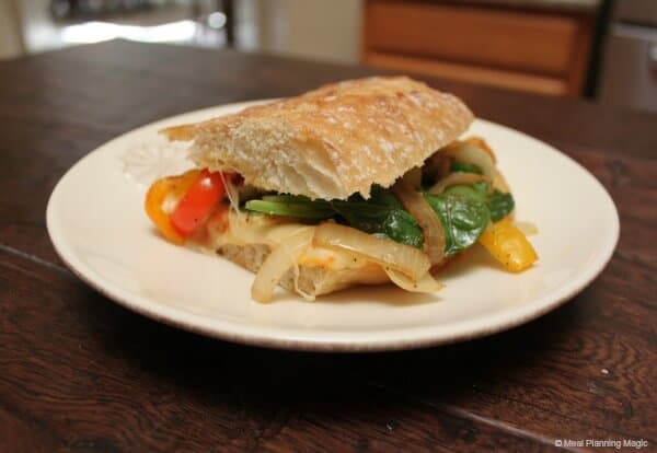 Spinach and Sautéed Vegetables Panini | Easy Vegetarian recipe from MealPlanningMagic.com