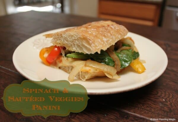 Spinach and Sautéed Vegetables Panini | #EatingAtoZChallenge | Easy Vegetarian recipe from MealPlanningMagic.com