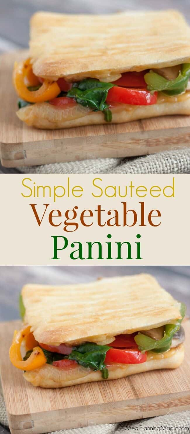 Packed with bell peppers, onions, mushrooms and spinach, this Simple Sauteed Vegetable Panini can be made in under 15 minutes. Perfect for lunch or dinner! | Recipe at MealPlanningMagic.com