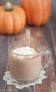 Pumpkin Spice Hot Cocoa topped with whip cream in a mug with pumpkins in background
