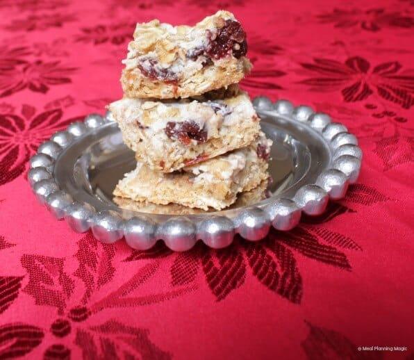 Cherry Oatmeal Bars | #12wksxmastreats | MealPlanningMagic.com