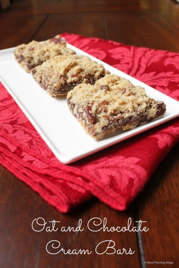 Oat and Chocolate Cream Bars | #12wksxmastreats | MealPlanningMagic.com