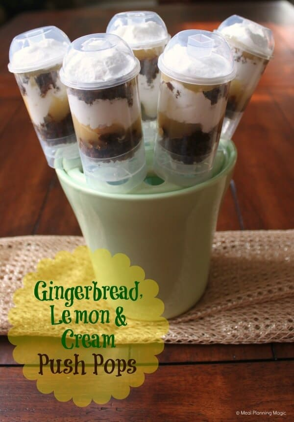 Gingerbread lemon cream push pops are an easy holiday dessert, combining homemade gingerbread, lemon curd, and whipped cream. | #12weeksxmastreats | MealPlanningMagic.com