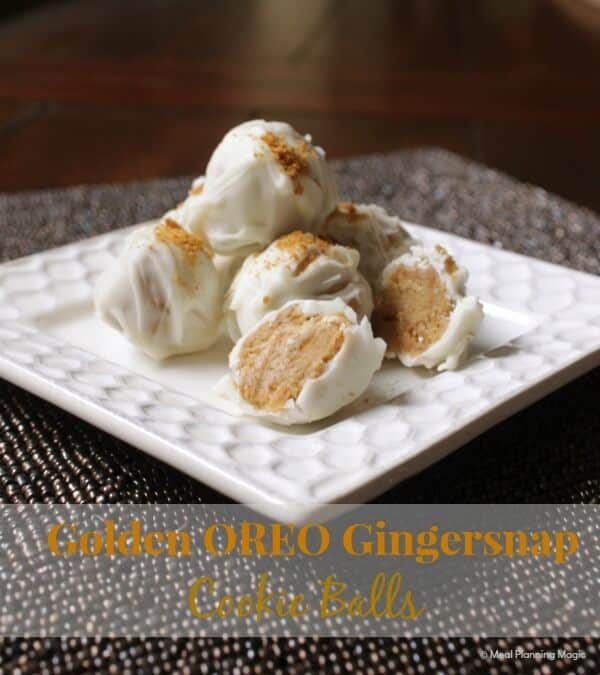 Golden Oreo gingersnap cookie balls are easy no bake treats for the holidays. This easy no bake recipe makes cookie balls that will be the perfect addition for your holiday cookie platter!