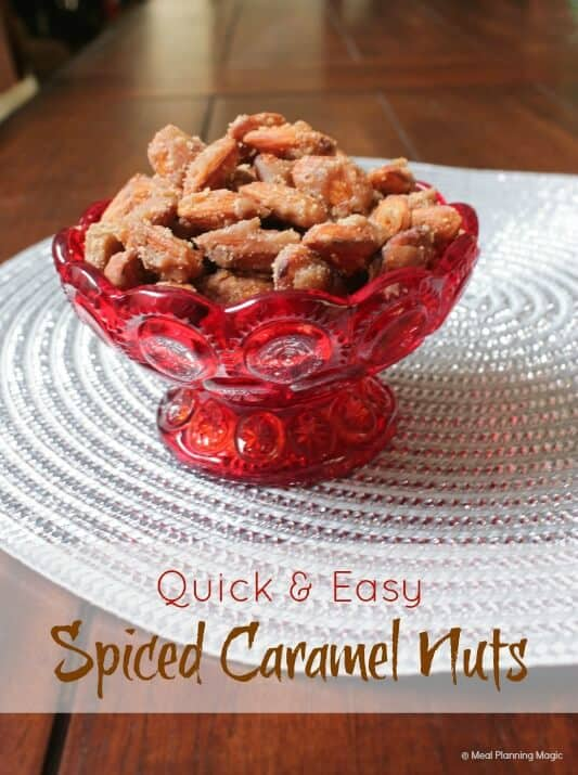 Quick and Easy Spiced Caramel Nuts | #12wksxmastreats | MealPlanningMagic.com