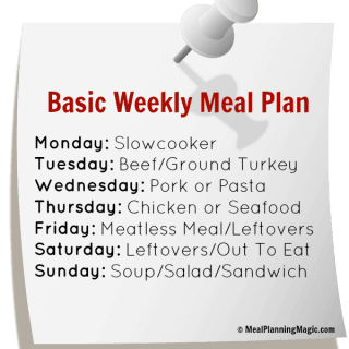 Break the Dinner Time Rut With A Basic Weekly Meal Plan!