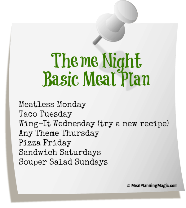 Break the Dinner Time Rut With A Basic Weekly Meal Plan!  | from MealPlanningMagic.com