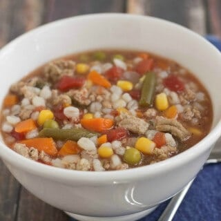 Simple Slowcooker Ground Turkey Vegetable Barley Soup