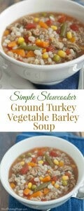 collage image of slowcooker ground turkey, mixed vegetable and barley soup in a white bowl on blue napkin