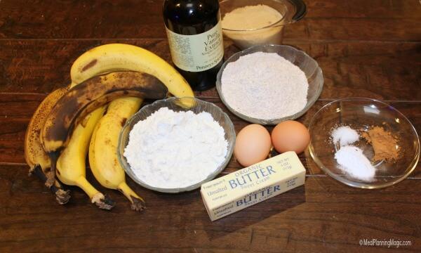 Whole Wheat Banana Bread - ingredients | MealPlanningMagic.com