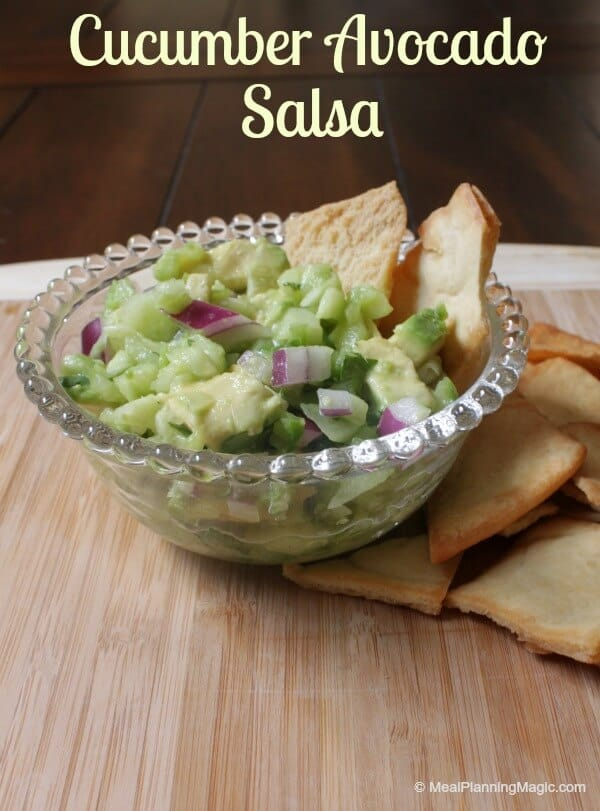 Cucumber avocado salsa is a healthy and delicious condiment, packed with wholesome vegetables and a little kick of spice.  Perfect to use as a garnish or as a dip for your favorite chips. | MealPlanningMagic.com
