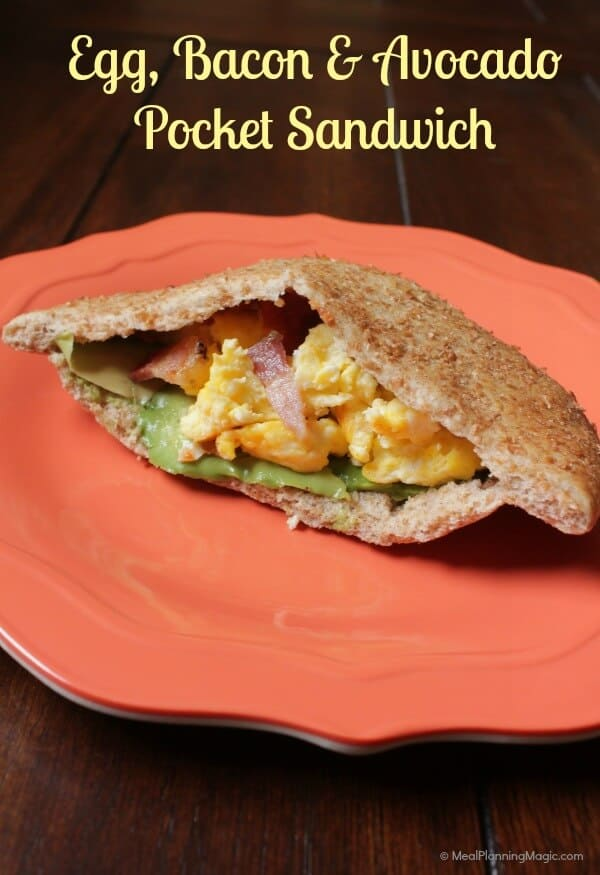 Egg, Bacon and Avocado Pocket Sandwich | #ad | MealPlanningMagic.com