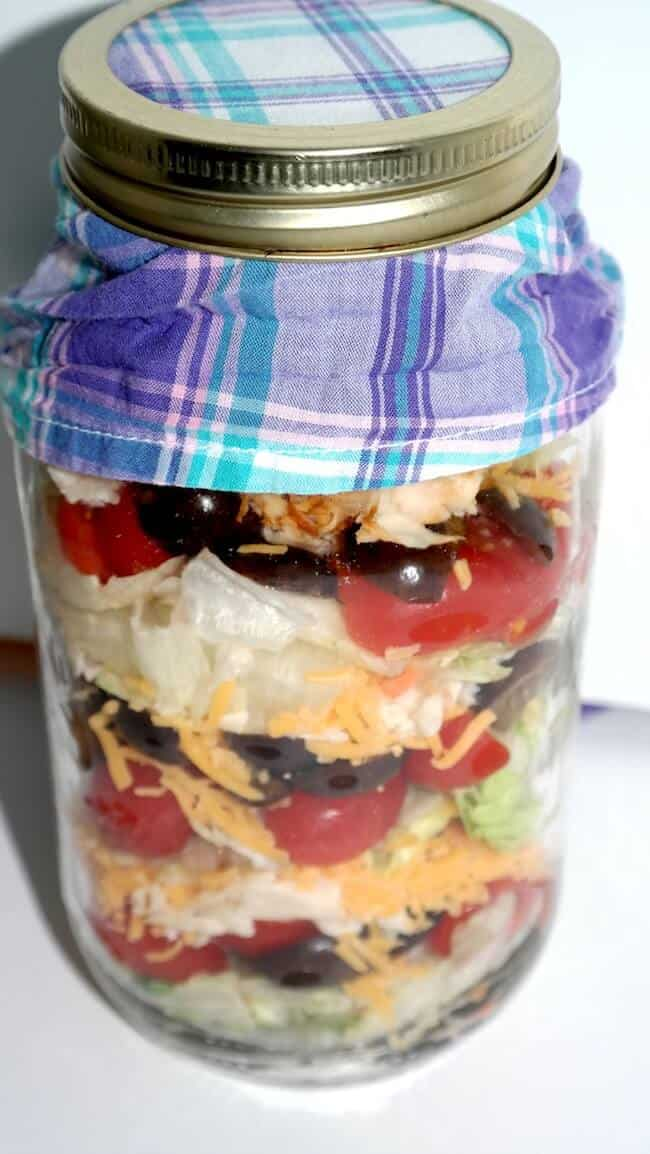 buffalo chicken salad, served in a jar