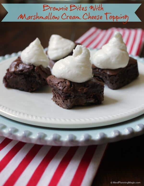Brownie Bites with Marshmallow Cream Cheese Topping | #BlogFilmFood | MealPlanningMagic.com