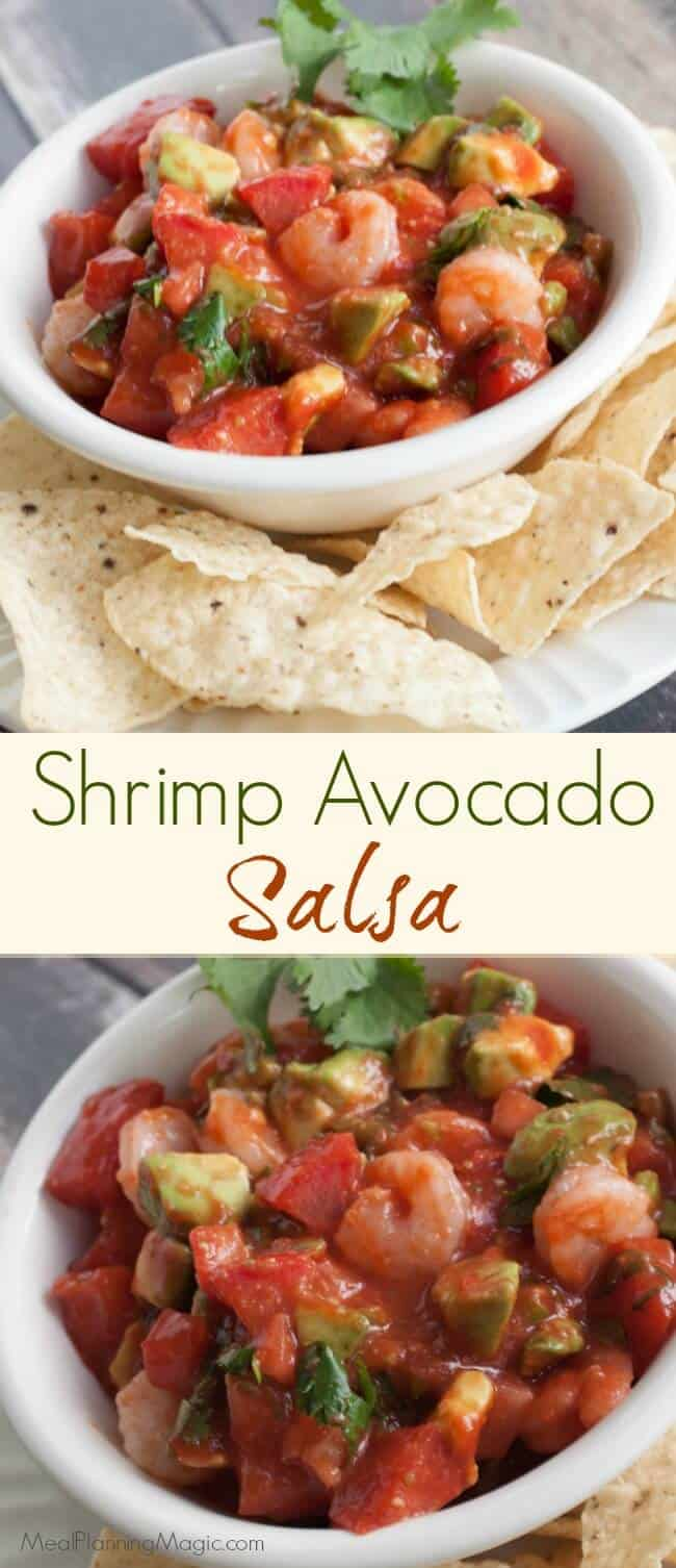 This simple shrimp avocado salsa is an easy and delicious version of ceviche and perfect for any crowd! |Find the recipe at MealPlanningMagic.com