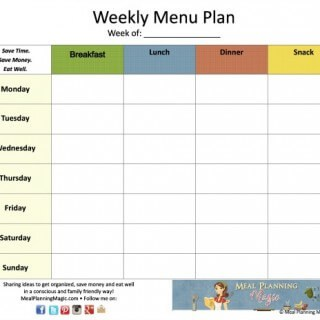 FREE Weekly Menu Plan Grid Printable with NEW Newsletter Subscription