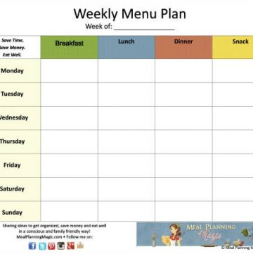 FREE Weekly Menu Planner Printable with Newsletter subscription | Find it at MealPlanningMagic.com