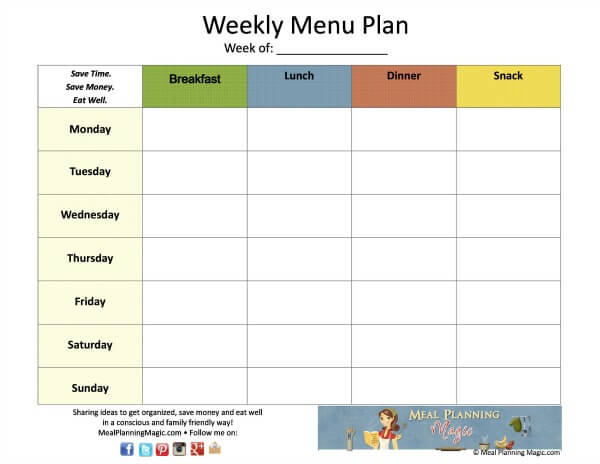 Free Weekly Menu Plan Grid Printable