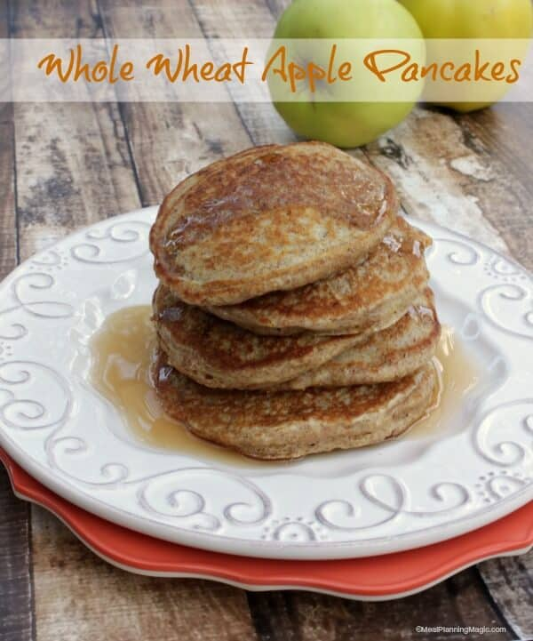 Whole Wheat Apple Pancakes | #52NewFoods | Recipe on www.mealplanningmagic.com