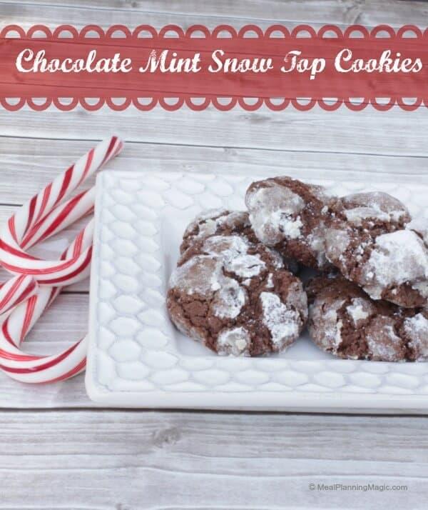 Chocolate Mint Snow Top Cookies  | Recipe at www.mealplanningmagic.com