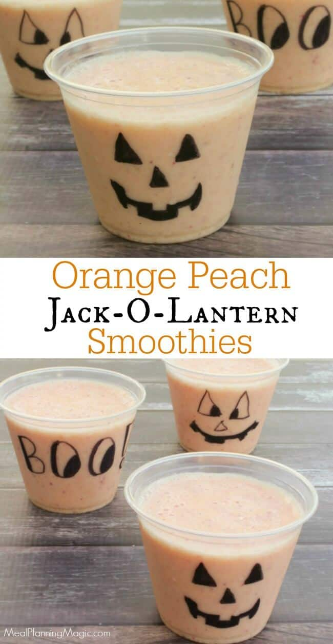 Orange Peach Jack-O-Lantern Halloween Smoothies - healthy smoothies that are festive and fun for Halloween.