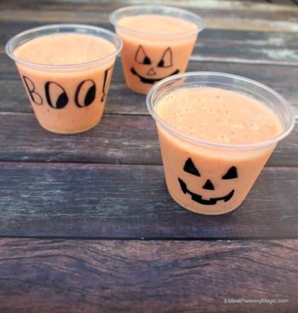 Fun Orange Peach Halloween Smoothie - Simple and Delicious!| Recipe on MealPlanningMagic.com