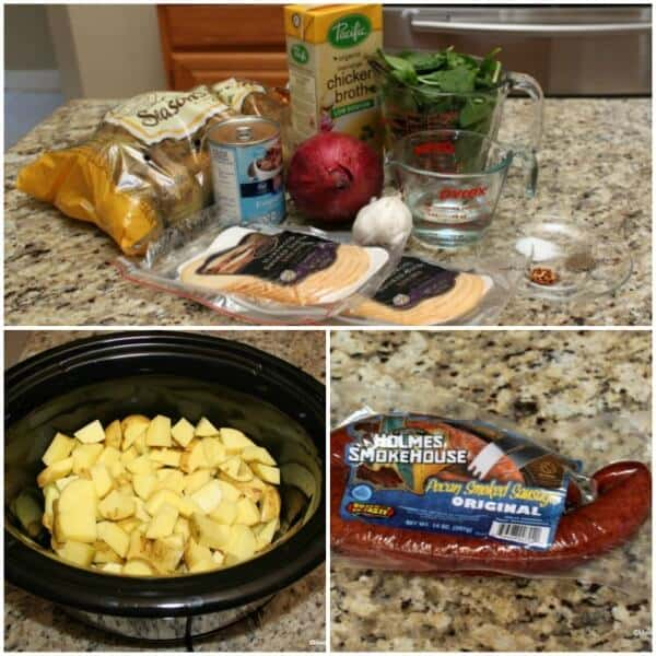 Ingredients to make Slowcooker Potato Soup with Kielbasa, Spinach and Gouda