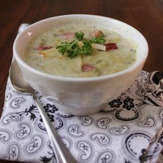 Crockpot Potato Soup with Kielbasa Sausage, Spinach and Gouda   Recipe on www.mealplanningmagic.com
