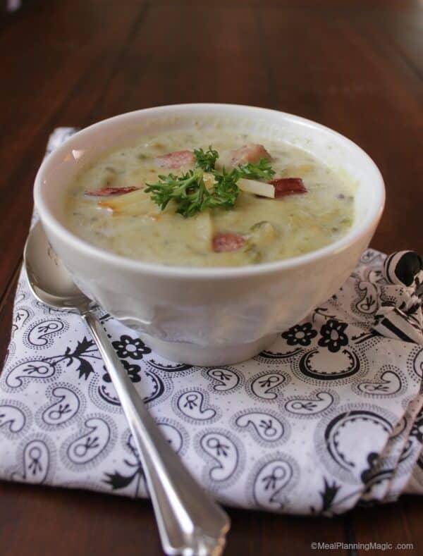 Crockpot Potato Soup with Kielbasa Sausage, Spinach and Gouda Cheese | Recipe on www.mealplanningmagic.com