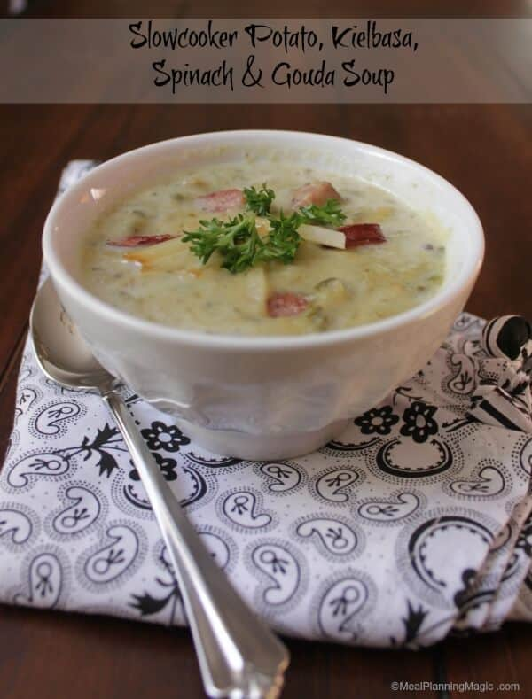 Slowcooker Potato Kielbasa Spinach and Gouda Soup | #SundaySupper | Recipe on www.mealplanningmagic.com