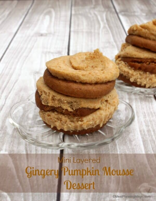 Mini Layered Gingery Pumpkin Mousse Dessert | !2 Weeks of Christmas Treats | Recipe at www.mealplanningmagic.com