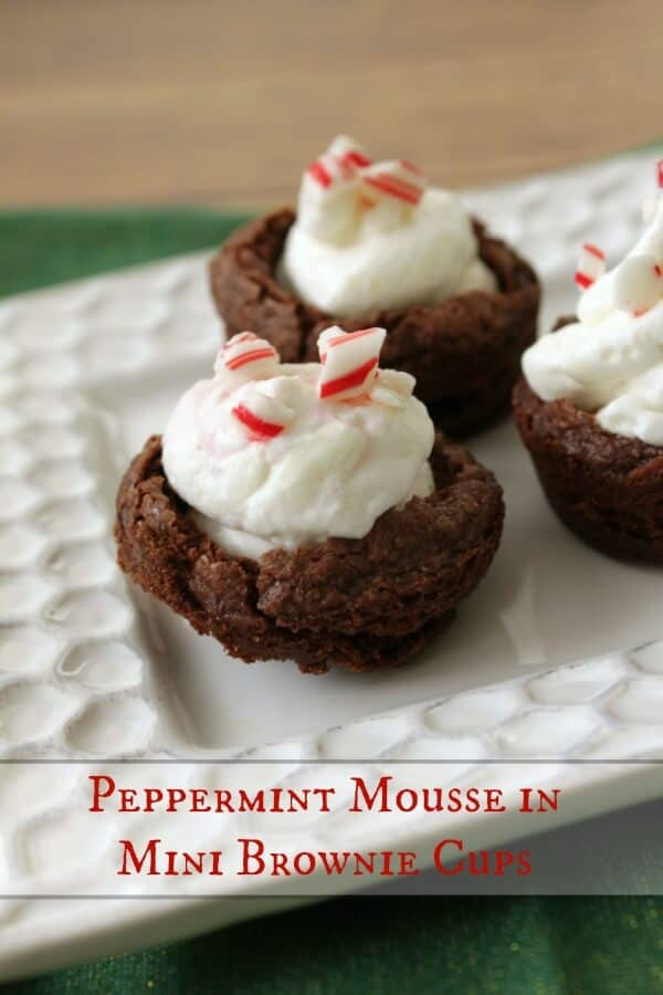 mini peppermint mousse brownie cups-words