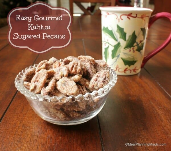 Sugared pecans are easy to make, and they're perfect to give as holiday food gifts. This spiced nuts recipe makes delicious, gourmet Kahlua sugared pecans.