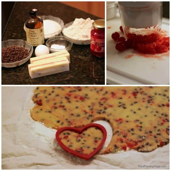Chocolate Cherry Cutout Sugar Cookies - simple and festive! | Recipe at MealPlanningMagic.com