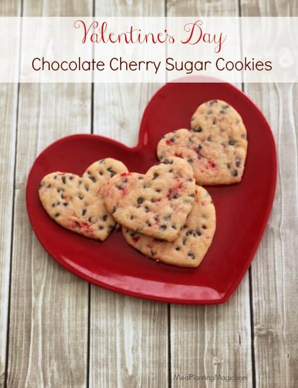 Valentine's Day Chocolate Cherry Cutout Sugar Cookies | Recipe at MealPlanningMagic.com