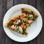 Simple Thai Chicken Pizza with Spicy Peanut Sauce | Recipe at MealPlanningMagic.com