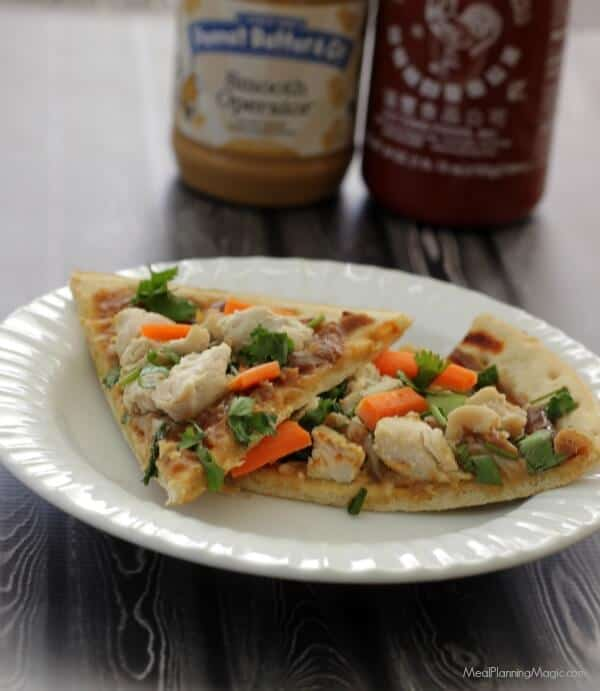 Thai Chicken Pizza with Sriracha Peanut Sauce | Recipe at MealPlanningMagic.com