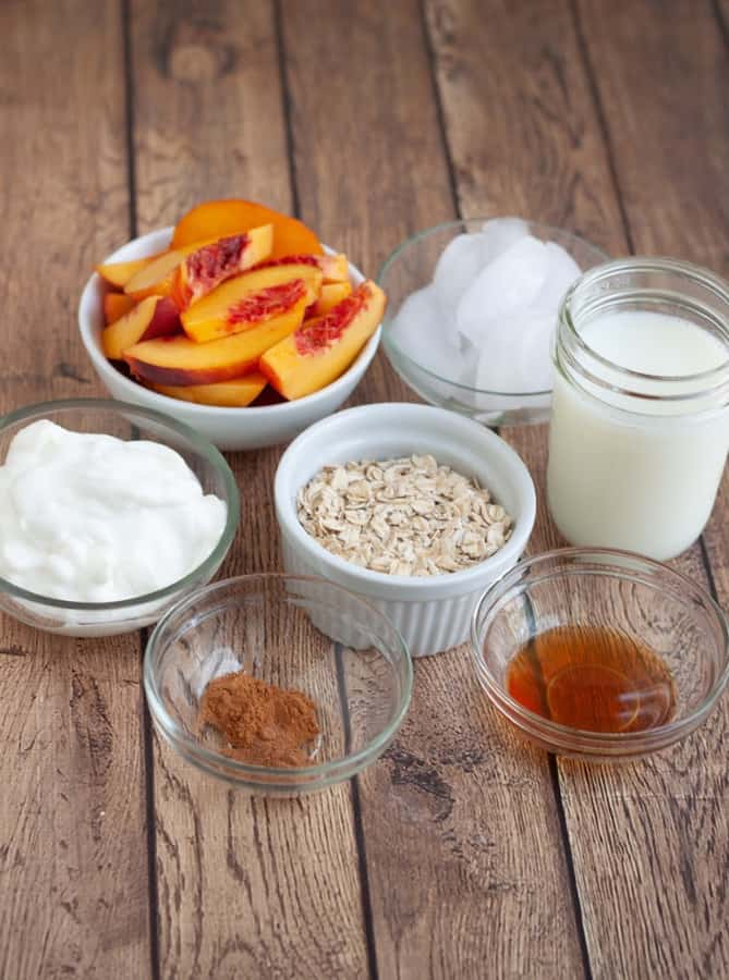 image of peach pie smoothie ingredients in bowls