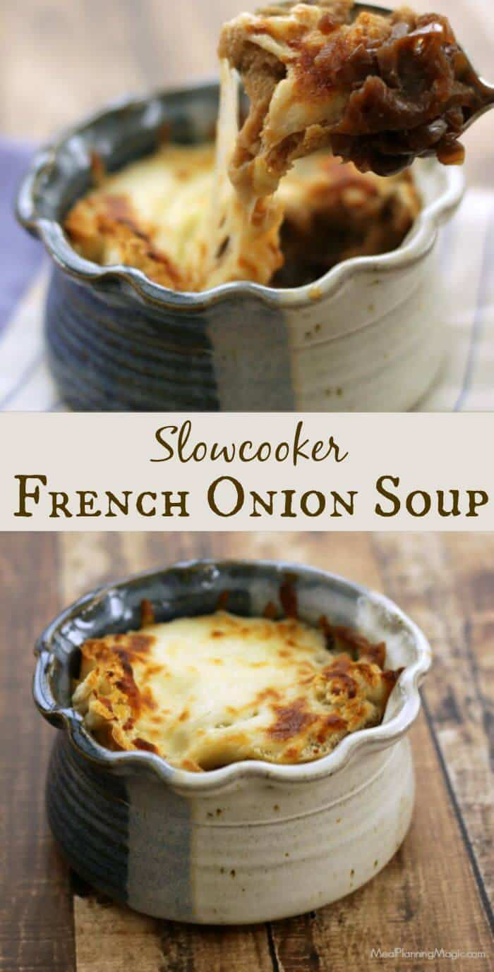 Making Slowcooker French Onion Soup in the slowcooker is SO easy and the results are delicious! This version only has seven ingredients total! | Recipe at MealPlanningMagic.com