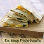 Mango paired with cream cheese gives a nice sweet flavor and the poblano gives enough of a kick to make these Easy Grilled Mango Poblano Quesadillas so delicious! | Recipe at MealPlanningMagic.com