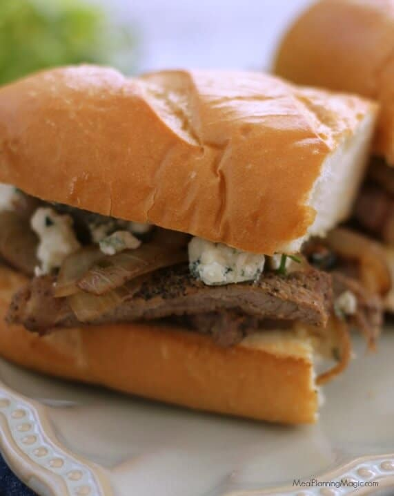 Who needs to go out to eat when you can make this delicious Bistro Style Steak and Onion Sandwich in under 30 minutes? Balsamic vinegar and blue cheese add a tasty punch of flavor to this simple meal. | MealPlanningMagic.com