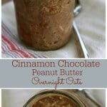 These Cinnamon Chocolate Peanut Butter Overnight Oats are SO simple to make for a great breakfast on the go. They remind me of the no-bake cookies I made as a kid! #oatober | Recipe at MealPlanningMagic.com